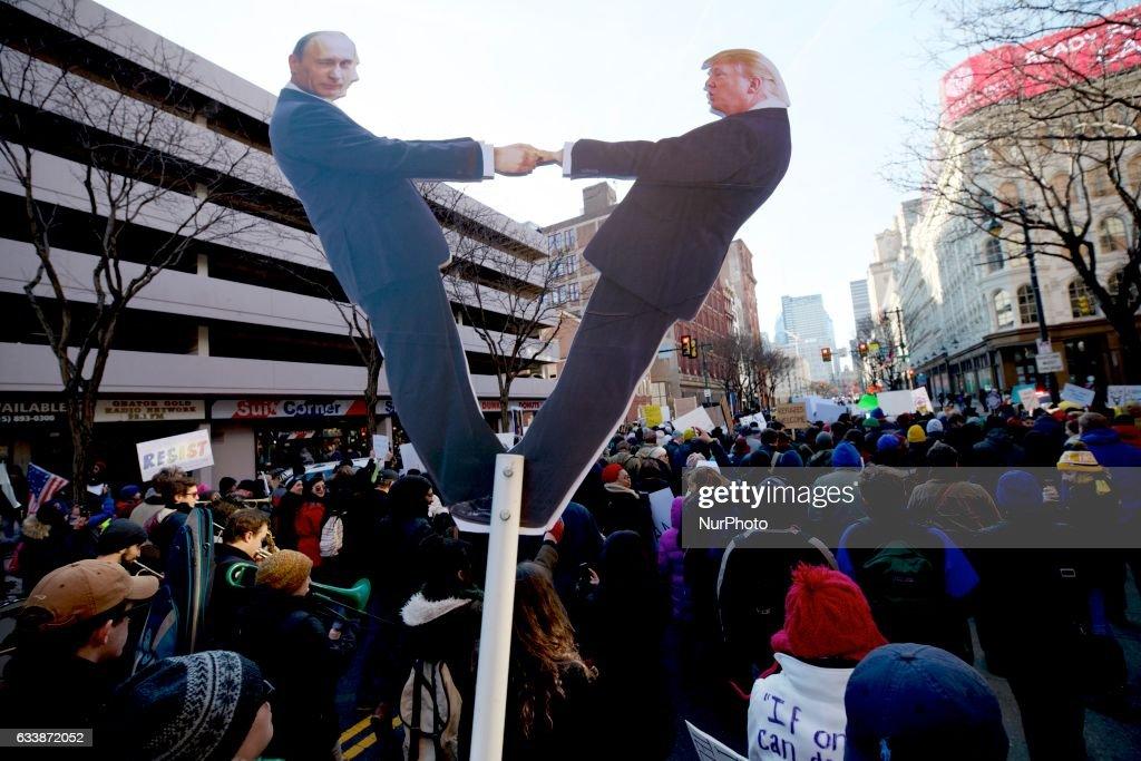Ongoing Anti-Trump/Pence Protest in Philadelphia, Pennsylvania : News Photo