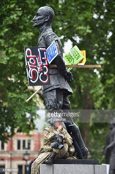 Protestors march through central London demonstrating against austerity and spending cuts on June 20 2015 in London England Thousands of people...