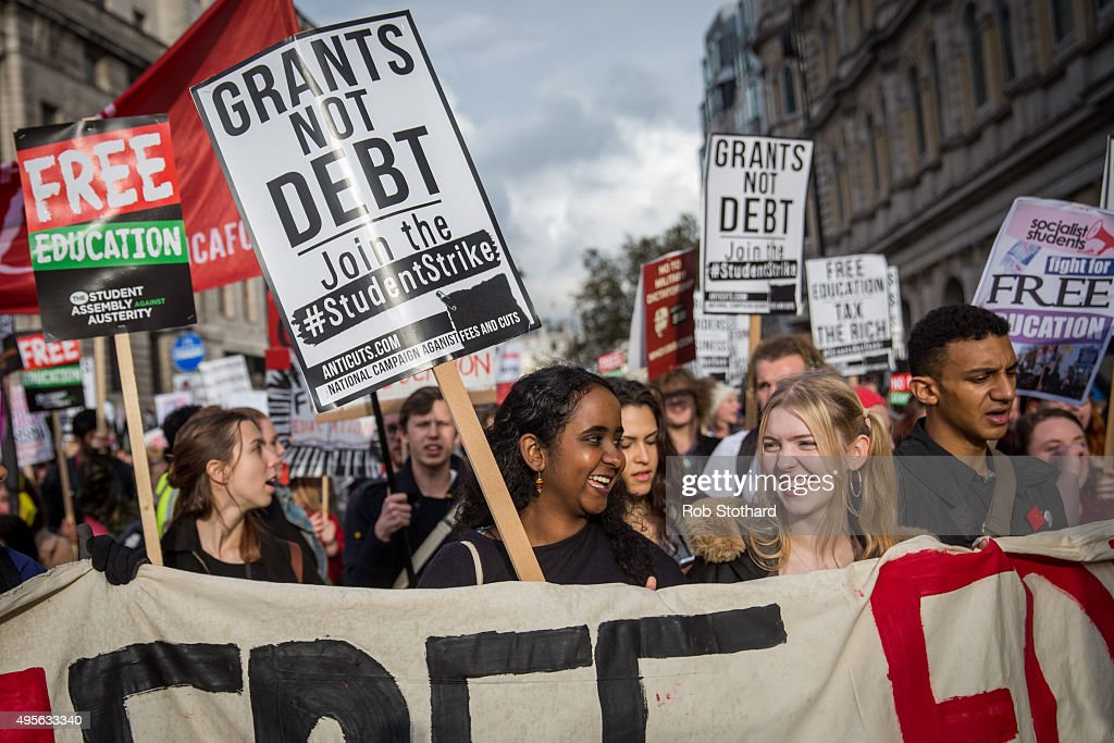Protestors march through central London during a protest against education cuts and tuition fees on November 4, 2015 in London, England. University students from across the country are marching on the streets of London to protest against cuts to free education. After a rally outside what was the University of London Union, the march will take in Parliament Square, Millbank - occupied by student protesters five years ago - and end in front of the Department for Business, Innovation and Skills (the department responsible for universities).