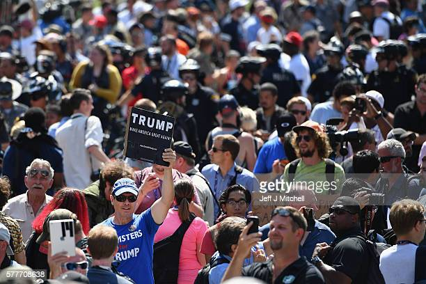 Protestors march through downtown Cleveland on the second day of the Republican National Convention on July 19 2016 in Cleveland Ohio Many people...
