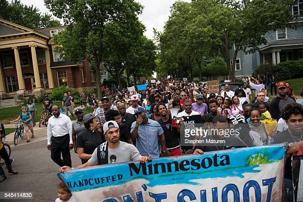 Protestors march through the streets during a demonstration for Philando Castile on July 7 2016 in St Paul Minnesota Castile was shot and killed the...