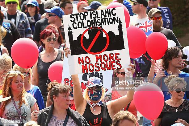 Protestors march through the streets of Bendigo on October 10 2015 in Bendigo Australia Protesters gathered showing their discontent with current...