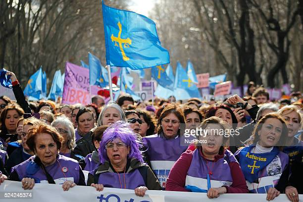 protestors march through the streets of Madrid in favor of the abortion during a protest in Madrid Spain Saturday Feb 1 2014Dozens of women arrive...