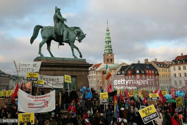 Protestors march towards the United Nations Climate Change Conference 2009 at the Bella Center on December 12 2009 in Copenhagen Denmark Politicians...
