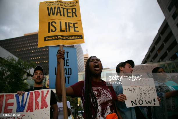 Protestors marched outside the Prudential Center in Newark, New Jersey on Monday, August 26, during the MTV Video and Music Awards to bring attention...