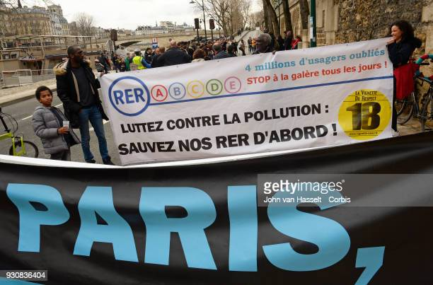 Protestors opposing the Paris mayor's decision to limit cars in the capital until a better infrastructure of public transportation to and from the...