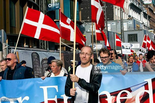 Protestors organised by For Freedom walks in demonstration aganist Muslim through the inner city of Copenhagen in Denmark on October 01 2016