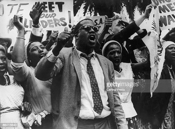 Protestors outside the hotel in Pretoria where Dag Hammarskjold SecretaryGeneral of the United Nations is staying 10th January 1961 Hammarskjold is...