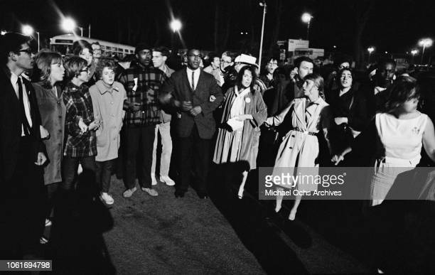 Protestors outside the Republican National Convention in Cow Palace, Daly City, California, following the nomination of right-wing presidential...
