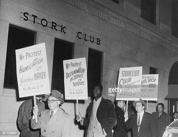 NAACP protestors outside the Stork Club in New York City where renowed dancer Josephine Baker was refused service on grounds of her colour 24th...