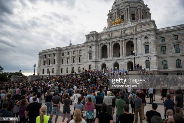 Protestors pack the steps of the Minnesota State Capitol building on June 16 2017 in St Paul Minnesota Protests erupted in Minnesota after Officer...