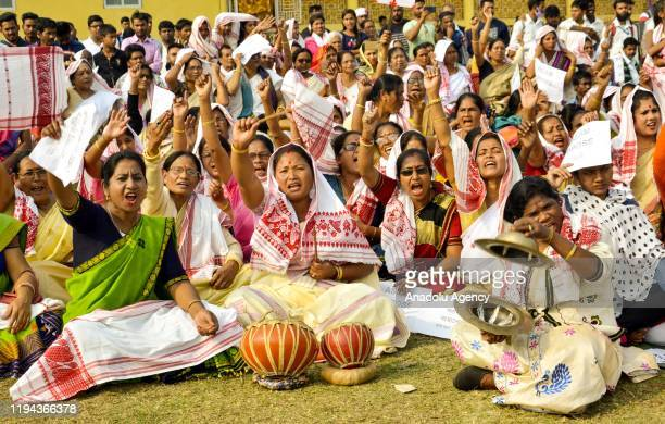 Protestors participate in a rally against Citizenship Amendment Act at Dharapur in Guwahati, Assam, India on Saturday, 18 January 2020.