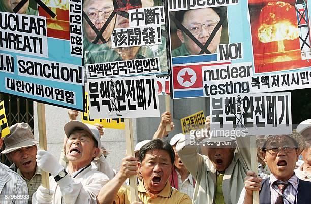 Protestors participate in a rally against North Korea on May 25 2009 in Seoul South Korea North Korea has announced that it successfully conducted a...