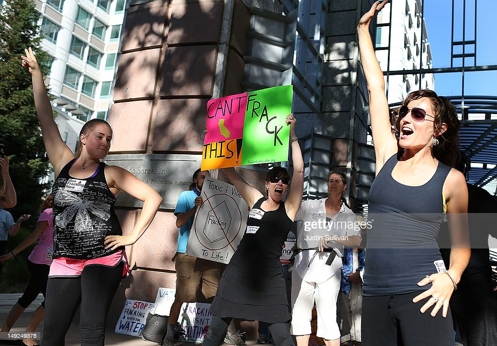 Protestors perform a dance during a demonstration against fracking outside of the California Environmental Protection Agency (EPA) headquarters on July 25, 2012 in Sacramento, California. Dozens of environmental activists staged a 'Stop Fracking With California' demonstration outside the California EPA headquarters ahead of public workshop hosted by the Division of Oil Gas and Geothermal Resources where protestors are planning to voice their opposition to the rushed regulatory of fracking and the many threats to the environment imposed by the process of hydraulic fracking for oil and gas.