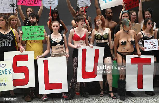 Protestors prepare to march in a Slutwalk demonstration on September 7 2013 in Chicago Illinois Slutwalk which was started in Toronto in 2011 is a...
