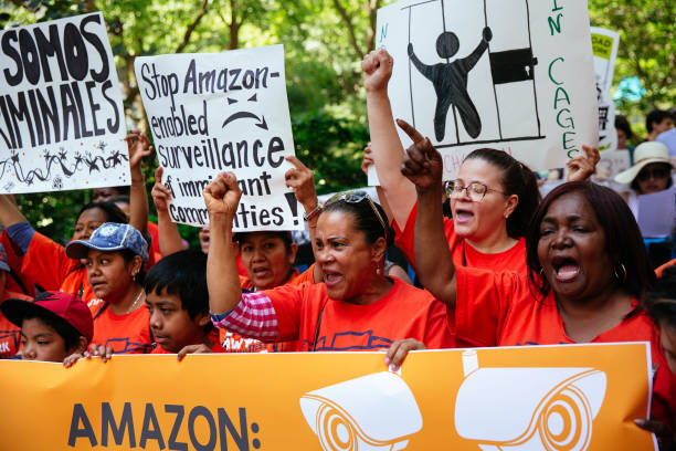 NY: Protestors Rally Against Amazon Workplace Conditions At Jeff Bezos' NYC Apartment