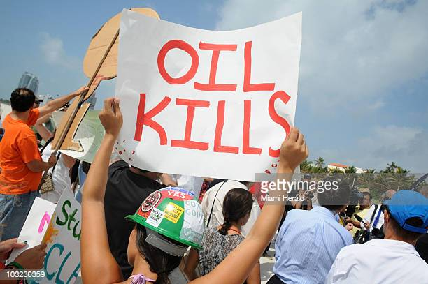 Protestors rally against oil drilling off the coast of Florida on Miami Beach Florida on Tuesday May 11 2010 Organized by the Sierra Club the 'Mobile...