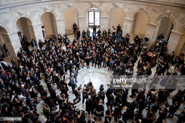 Protestors rally against Supreme Court nominee Judge Brett Kavanaugh in the rotunda of the Russell Senate Office Building on Capitol Hill September...