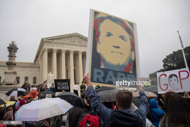 Protestors rally against Supreme Court nominee Judge Brett Kavanaugh outside the Supreme Court, September 27, 2018 in Washington, DC. On Thursday,...
