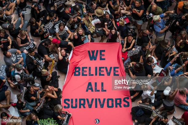 Protestors rally against Supreme Court nominee Judge Brett Kavanaugh in the atrium of the Hart Senate Office Building on Capitol Hill October 4 2018...