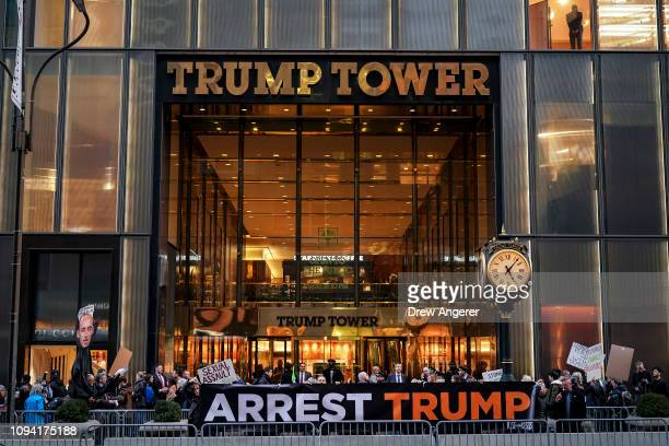 Protestors rally against U.S. President Donald Trump in front of Trump Tower on the night of his State of the Union address, February 5, 2019 in New...