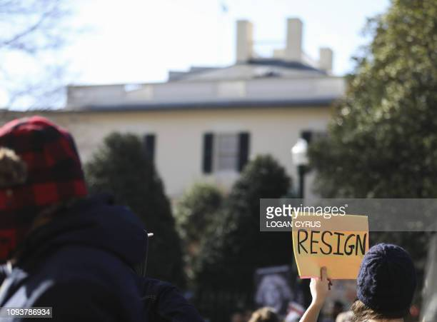 Protestors rally against Virginia Governor Ralph Northam outside of the governors mansion in downtown Richmond Virginia on February 4 2019...