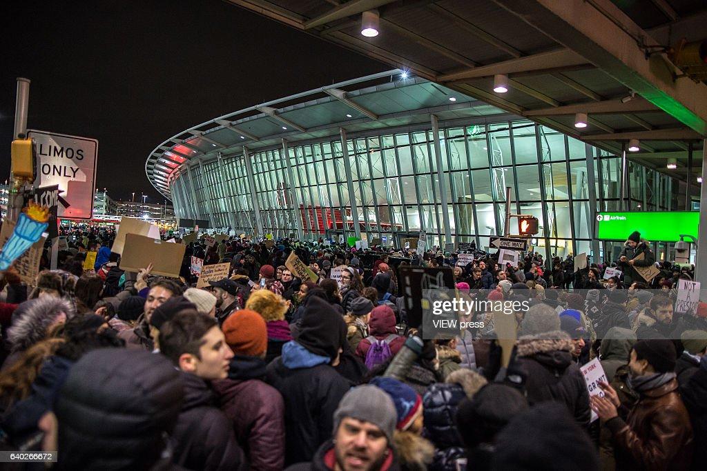 Protestors Rally At JFK Airport Against Muslim Immigration Ban : News Photo