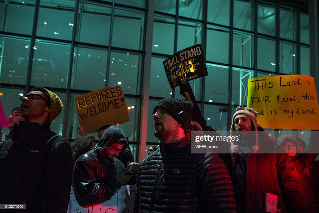 Protestors Rally At JFK Airport Against Muslim Immigration Ban : News Photo