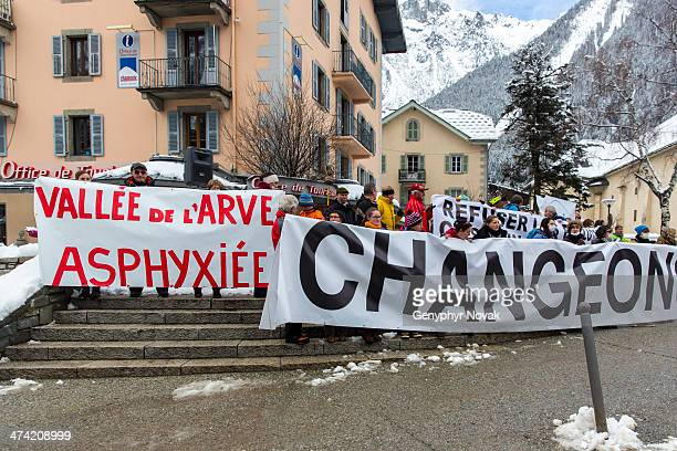 Protestors rally in front of the Chamonix Mont Blanc, France Office of Tourism on February 8th 2014 to protest state government inaction on the...