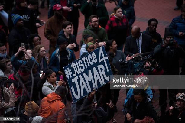Protestors rally outside of the Hennepin County Courthouse on March 30 2016 in Minneapolis Minnesota Earlier in the day Hennepin County Attorney Mike...