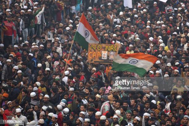 Protestors seen during a protest against a new citizenship law, in Seelampur area on December 20, 2019 in New Delhi, India. The act seeks to grant...