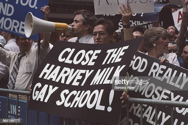 Protestors show their displeasure on the route of the Gay Pride parade in New York City USA June 1983