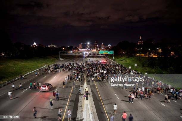 Protestors shut down highway 94 on June 16 2017 in St Paul Minnesota Protests erupted in Minnesota after Officer Jeronimo Yanez was acquitted on all...