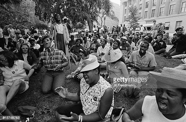 Protestors singing in Washington DC during the Poor People's Campaign 1968