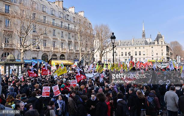 Protestors stage a demonstration against the state of emergency in France at Place Saint Michel in Paris, on March 12, 2016. The demonstration has...