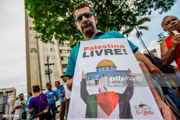 Protestors stage a demonstration against 'US President Donald Trump's announcement to recognize Jerusalem as the capital of Israel' in Sao Paulo on...