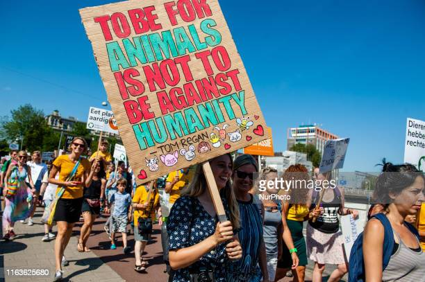 Protestors take part during Animal Rights March on August 24 2019 in AmsterdamNetherlands Animal lovers activists and supporters stand up and speak...