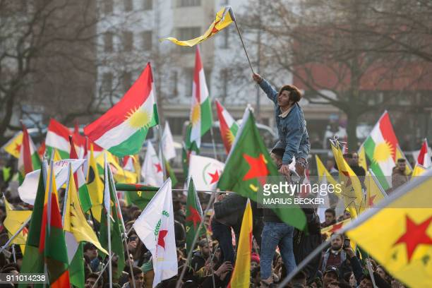 Protestors take part in a mass demonstration against the ongoing ??Turkish military campaign in the Kurdish-held Syrian enclave of Afrin, in Cologne,...