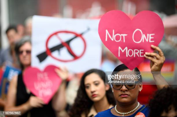TOPSHOT Protestors take part in a rally of Moms against gun violence and calling for Federal Background Checks on August 18 2019 in New York City
