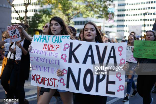 Protestors take part in the March to End Rape Culture an annual event in Philadelphia September 29 2018 By coincidence the march was scheduled two...