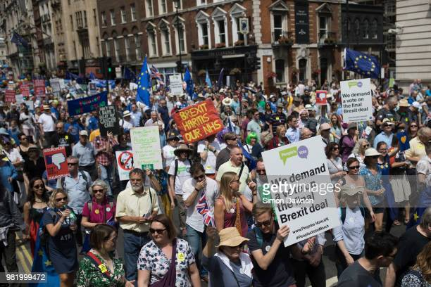 Protestors take part in the People's Vote demonstration against Brexit on June 23 2018 in London England On the second anniversary of the 2016 Brexit...