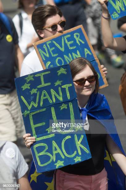 Protesters at the Patriots March ProBrexit Supporters through London UK on 23 June 2018 on the second anniversary of Brexit to celebrate the UK...
