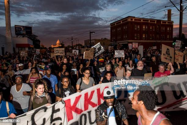 Protestors take to the streets on June 16 2017 in St Paul Minnesota Protests erupted in Minnesota after Officer Jeronimo Yanez was acquitted on all...