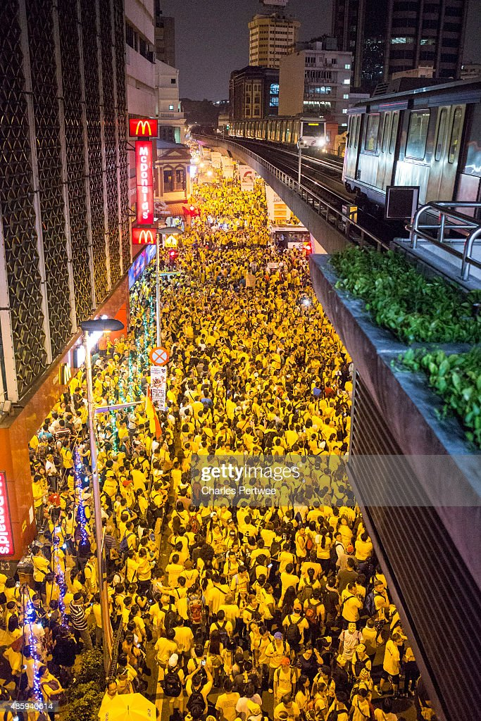 Protestors throng the streets around Merdeka Square during the Bersih 4.0 rally on August 30, 2015 in Kuala Lumpur, Malaysia. Prime Minister Najib Razak has become embroiled in a scandal involving state fund debts and allegations of deposits totaling 2.6 billion ringgit paid to his bank account. Razak has denied any wrongdoing. Thousands of people gathered to demand his resignation and a new general election.