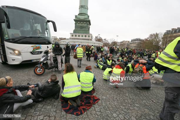 Protestors wearing a quotyellow vestquot block the traffic as they demonstrate against rising costs of living in place de la Bastille in Paris on...