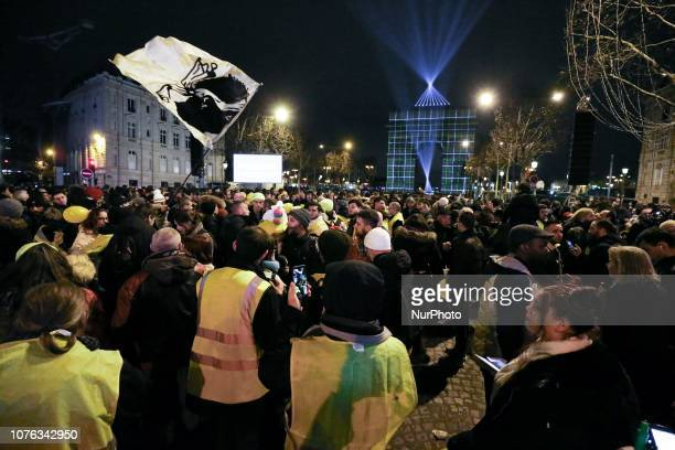 Protestors wearing quotYellow vestsquot gather in front of the Arc de Triomphe in the ChampsElysees as the French capital Paris gears up for New...