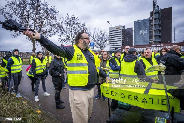 Protestors wearing yellow vests demonstrate in Maastricht The Netherlands on December 8 2018 The socalled gilets jaunes protest movement which...