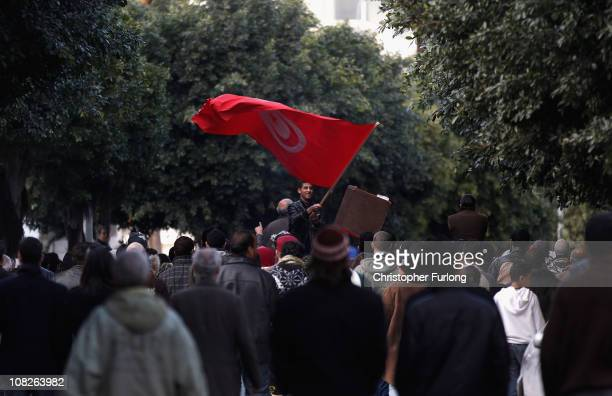 Protestors who marched from the rural areas of Tunisia campaign outside the prime ministers office for the remnants of the old presidents government...