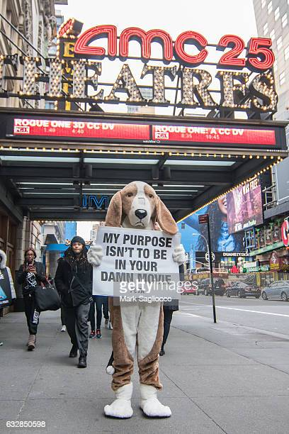 Protests 'A Dog's Purpose' on Opening Night at AMC Empire 25 theater on January 27 2017 in New York City
