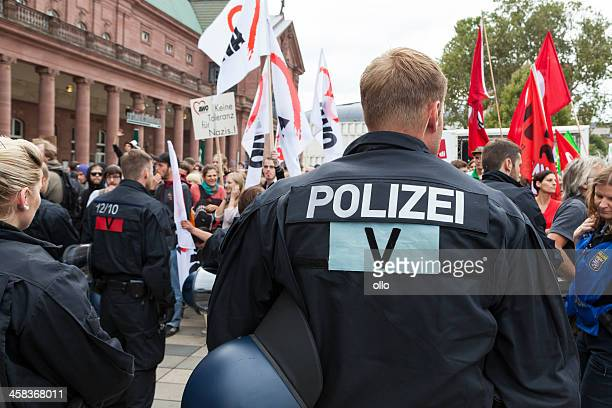 protests against npd election campaign - nazi uniform stock photos and pictures